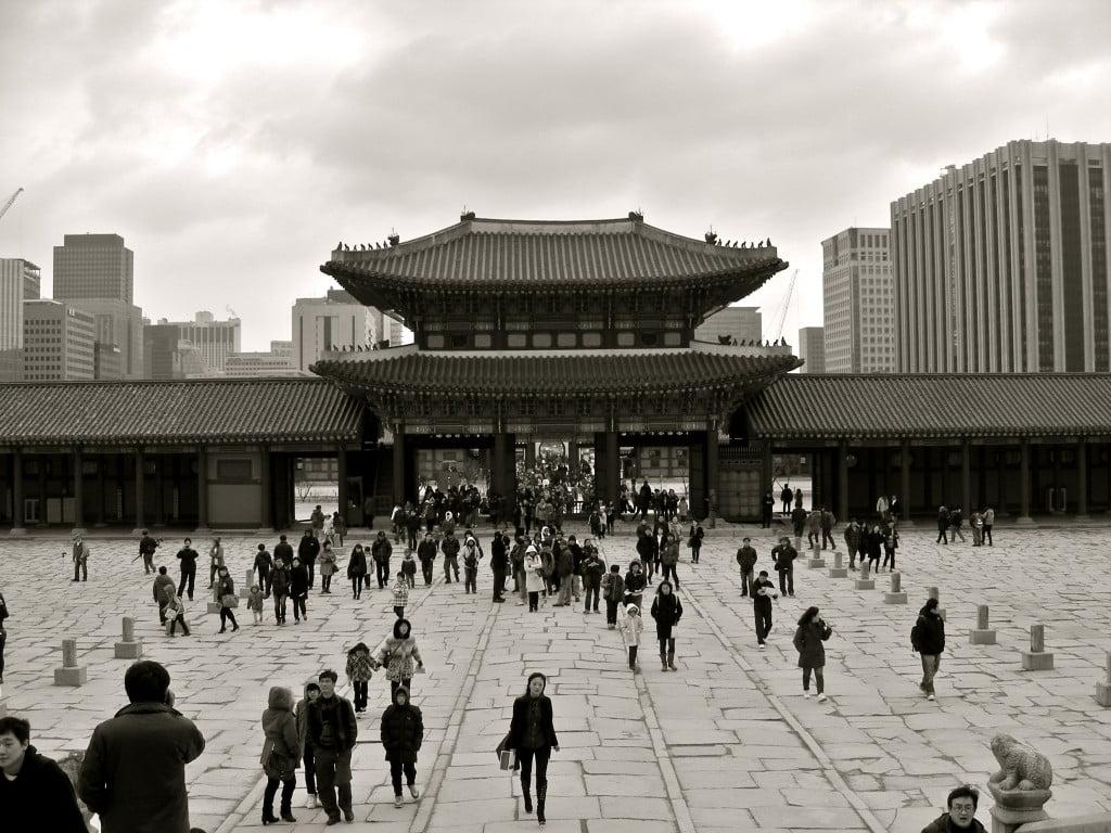 Black and white photo of Gyeongbokgung, Seoul