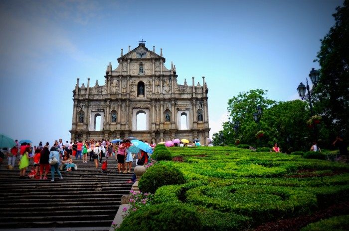 The Ruins of St. Paul on a sunny day in Macau. All that remains is the facade.