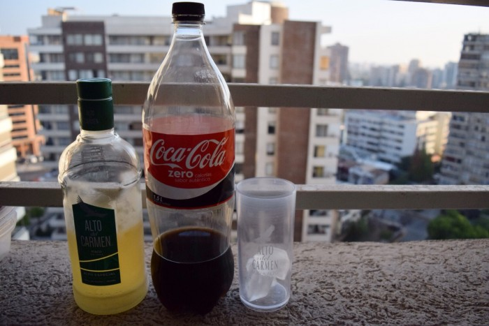 To make piscola you need pisco and Coca Cola