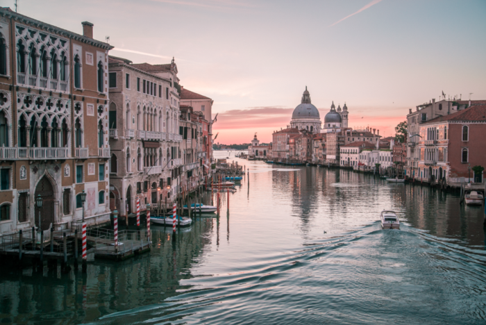 The best place to watch the sunrise in Venice, Italy is Accademia Bridge.
