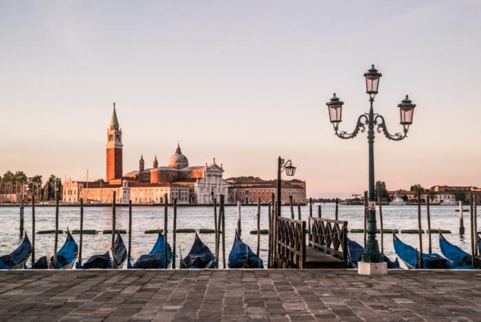 Rows of gondolas in Venice, Italy