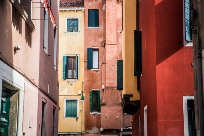 Exploring the colourful architecture of Venice, Italy