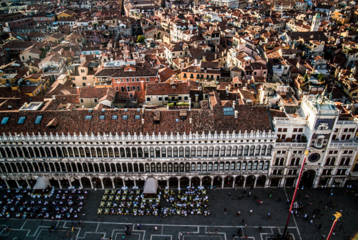 The views from Climb St. Mark's Bell Tower in Venice, Italy