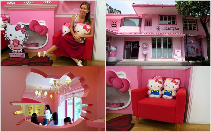Visiting the Hello Kitty Cafe in Seoul, Korea.