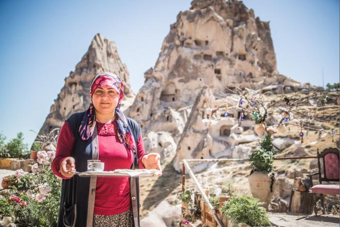 Turkish tea in Urchisar, Cappadocia.