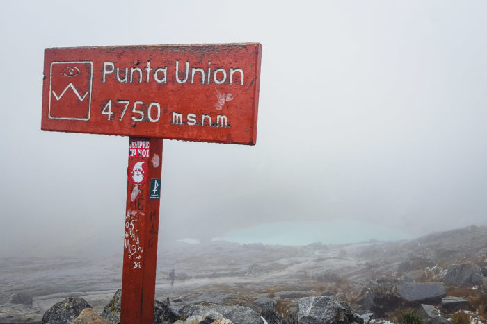 Crossing the Punta Union on the Santa Cruz Trek in Peru